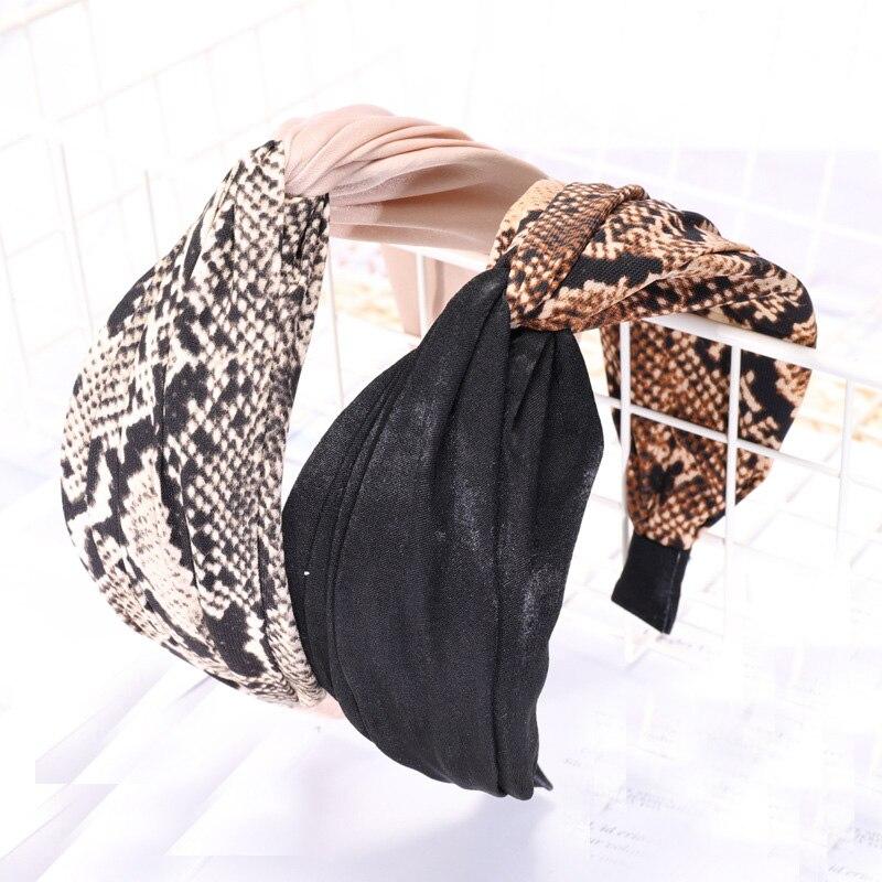Vintage Bohemian Leopard Satin Knotted Cross Hairband Pattern Knot Headband customized Hair Accessories Headwear