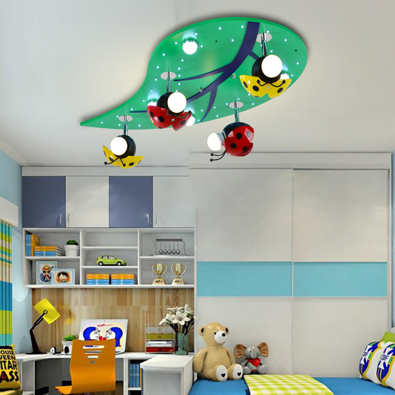 Creative children room LED Ceiling Lights boy and girl baby room lights lamp bedroom ceiling ladybug leaves lamps ZA621 ZL210