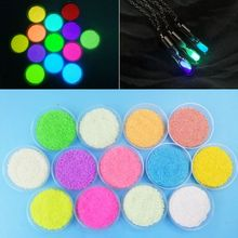 10 Bottles Fluorescent Bright Glow In Dark Sand Powder Pigment Resin Jewelry DIY