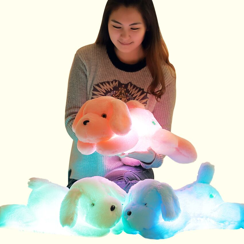 50cm Colorful LED Glowing Dogs Luminous Plush Children Toys For Girl,Night Dog Stuffed Plush Toys For Kids Toys glowing sneakers usb charging shoes lights up colorful led kids luminous sneakers glowing sneakers black led shoes for boys