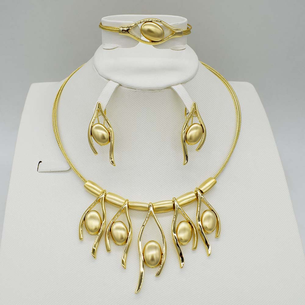 New Vintage ensembles de bijoux Africain Perle Perles collier de déclaration bracelet, boucles d'oreilles Anneau Femmes De Mariage accessoires de fête