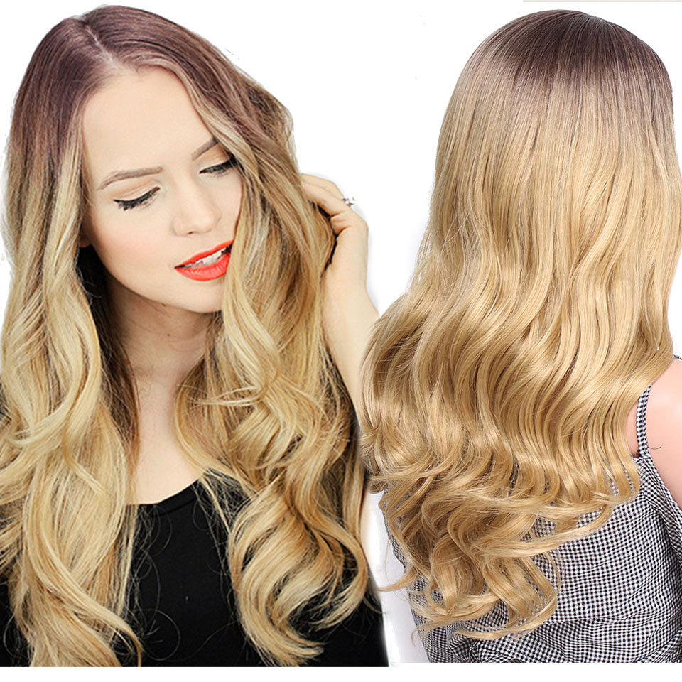 Is a wig Long Wavy Wigs Ombre Brown 20 inch Synthetic Wigs Wave Hair Heat Resistant For Women