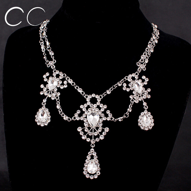 Luxury elegant wedding jewelry sets for brides water drop CZ pendent