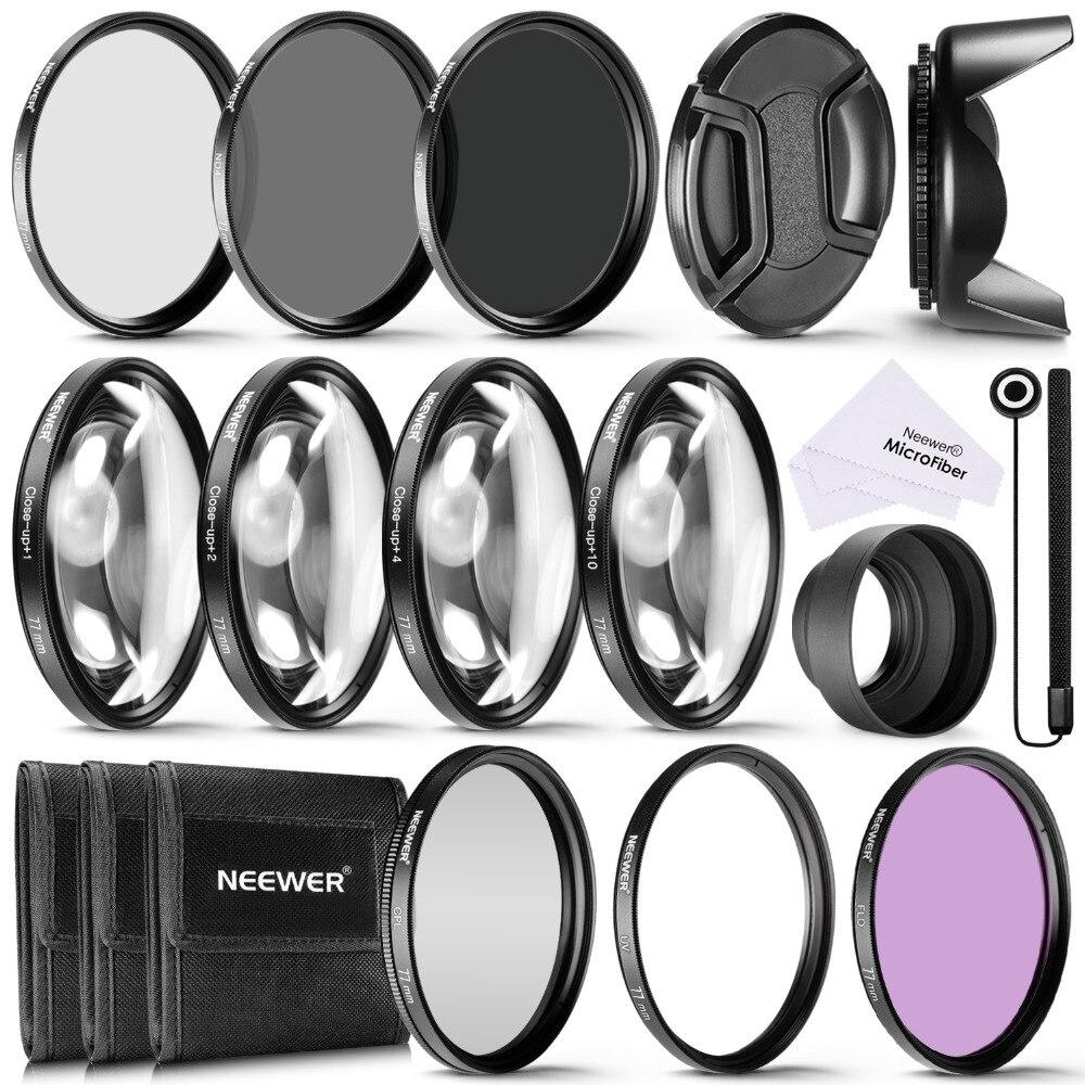 Neewer 77 MM filtre d'objectif et Kit d'accessoires: filtres UV CPL FLD, ensemble de filtres de gros plan Macro (+ 1 + 2 + 4 + 10), filtre ND2 ND4 ND8