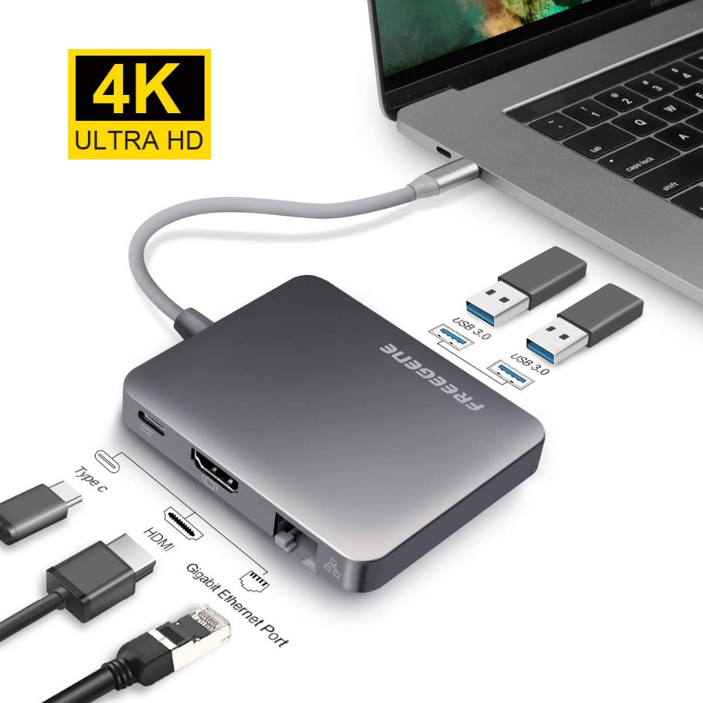 купить FREEGENE USB HUB USB-C to 4K HDMI Ethernet RJ45 Thunderbolt 3 Adapter For MacBook Pro 13 15 / Huawei P20 Pro Type C USB 3.0 HUB