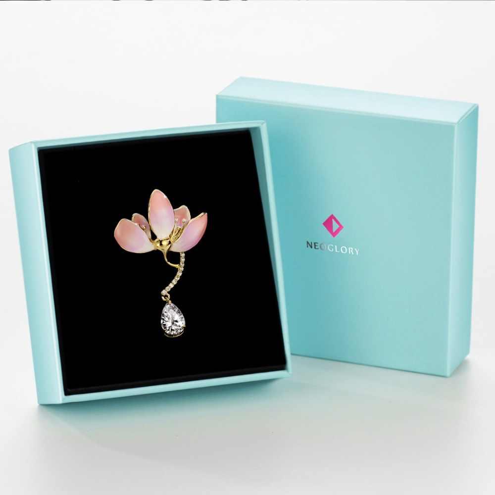 Neoglory bonito zircão broches esmalte pins rosa e broches para mulheres moda vintage jóias presentes de festa 2020