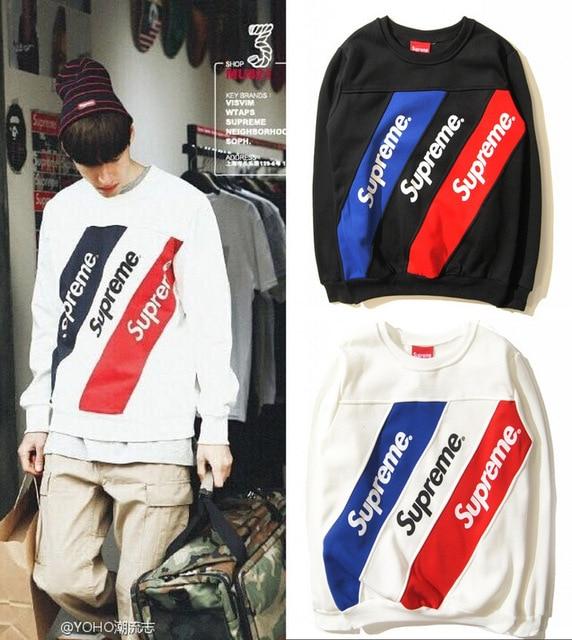 e399501caedd Supreme Sweatshirts Striped Casual Hoodies Brand Clothing Couples Clothes  Men Women Tops Fashion Moleton Feminino Sport Hoodie