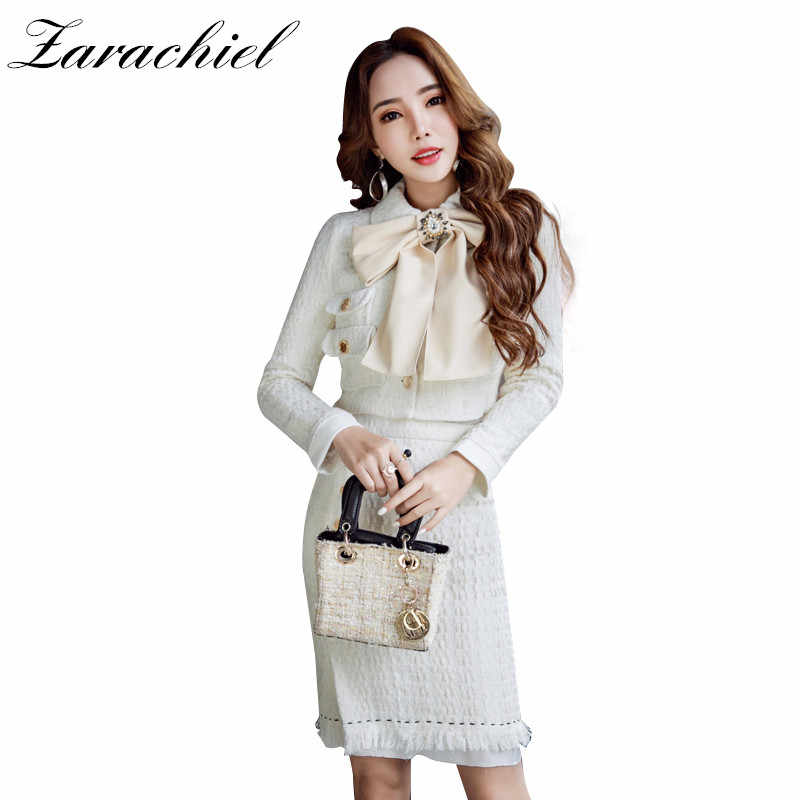 2166660f1e Runway White Tweed Wool Skirt Suit 2018 Winter 2 Piece Set Women Diamonds  Bow Button Short