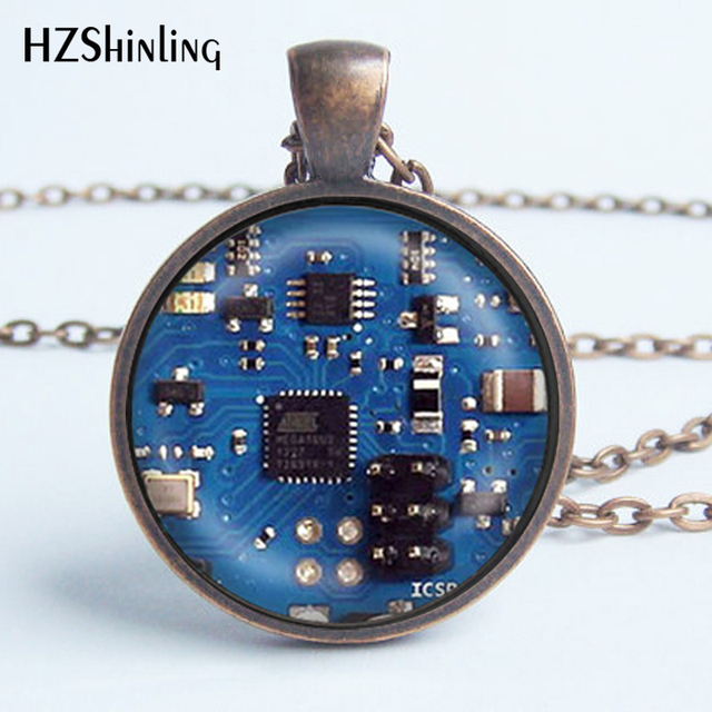 2016 Glass Dome Cabochon Jewelry Blue 2 Circuit Board Art Print Pendant Necklace Charm Gifts for Her or Him Geek Electronics HZ1 2