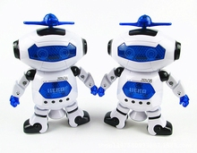 360 Rotating Intelligent Space Dancing Robot Toys For Boys Children Educativo RC Robot Animation Musical Walk Lighten Electronic