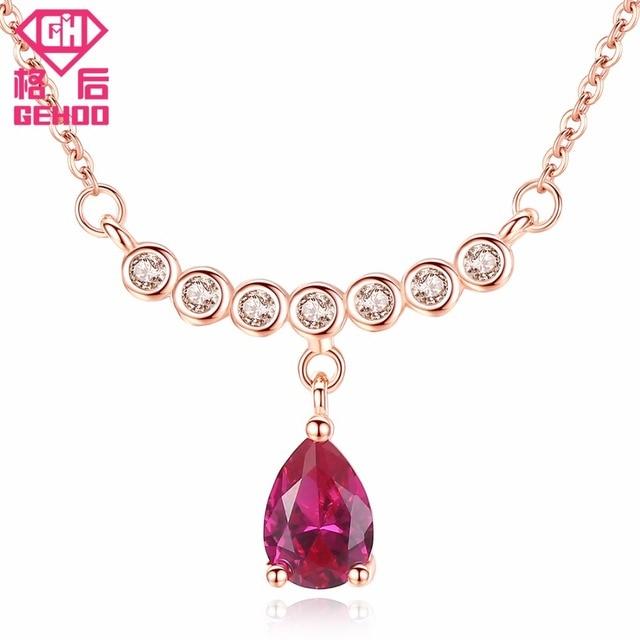 GEHOO Women Fine Jewelry Pretty Red Ruby Water Drop Zircons Pendant Necklaces Ch