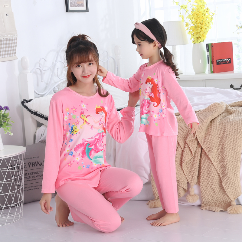 Us 11 92 2018 Long Sleeve Cartoon Family Outfit Mother And Daughter Clothing Full Pants Printing Cute Mommy Baby Girl Pajamas Suit Lounge In