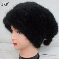 JKP מקורית סרוגים מינק פרווה אופנה נשים מינק פרווה סרוגה כובעי חורף כיסויי ראש כובעי בימס
