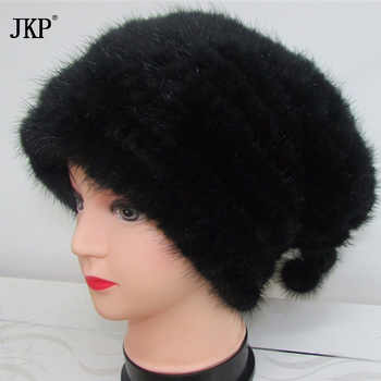 JKP Genuine Knitted Mink Fur Beanies Hats Fashion Womens Mink Fur Knitted Caps Winter Headgear - DISCOUNT ITEM  49% OFF All Category