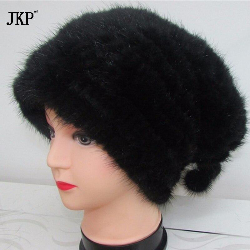 JKP Véritable Fourrure de Vison Tricoté Bonnets Chapeaux Mode Femmes Fourrure De Vison Tricoté Caps Hiver Coiffures