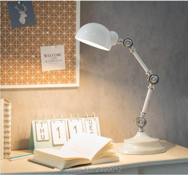 Nordic Style Led Metal Robot Table Lamp Swing Arm Desk Reading Bedside High