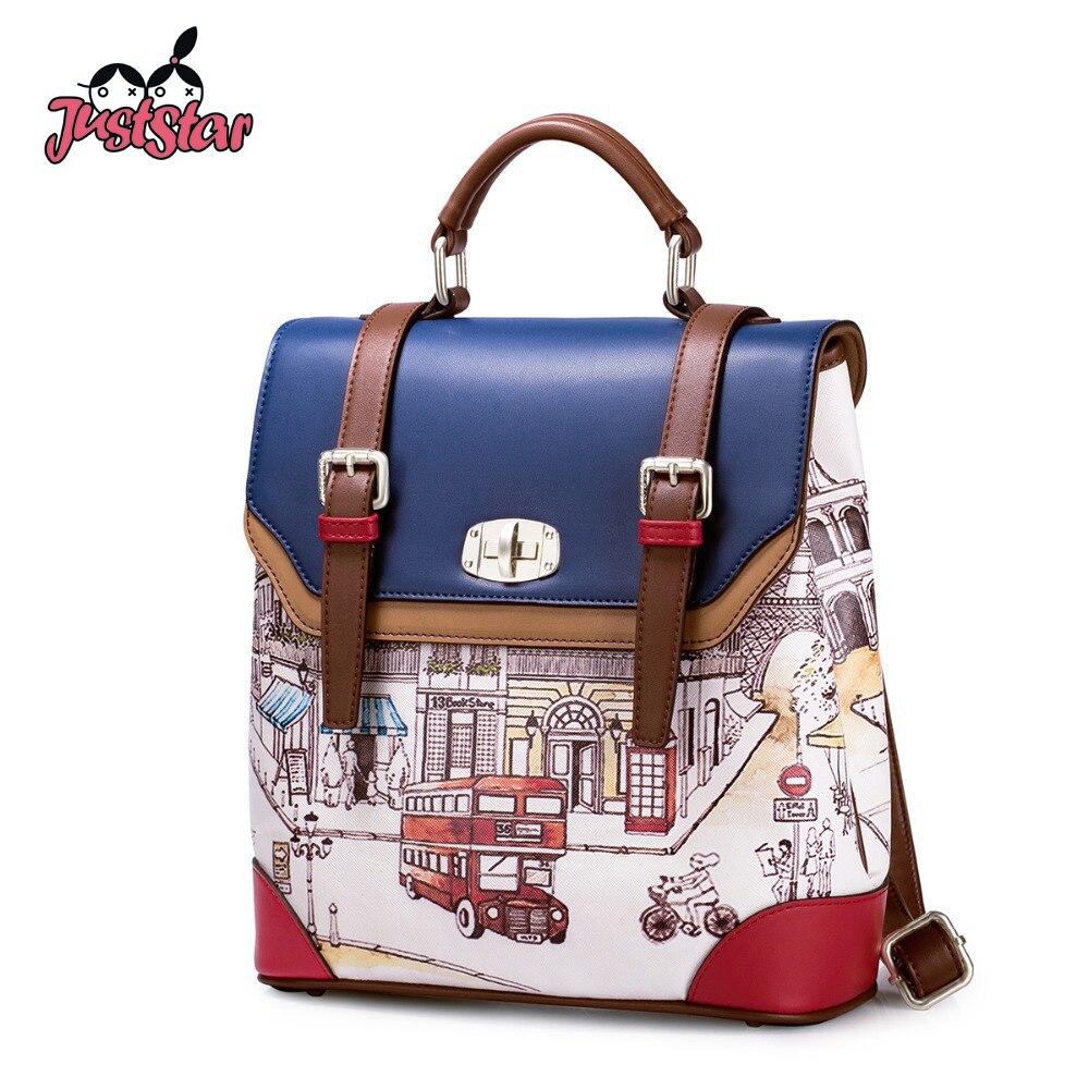 JUST STAR Women's PU Leather Backpack Female British Cartoon School Bags Girl's Double Shoulder Student Bag Ladies Rucksack 0756