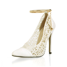 2017 New Ivory Sexy Wedding Bridal Shoes Women Pointed Toe Stiletto Super High Heels Chain Lace Lady Pumps Zapatos Mujer 0640-f5