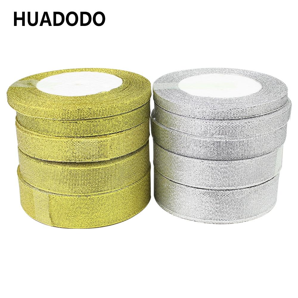 HUADODO 25 ярдов Золото Серебро Блестящая лента 6 мм 10 мм 15 мм 20 мм 25 мм органза ленты лента для DIY Свадебная вечеринка подарочная упаковка