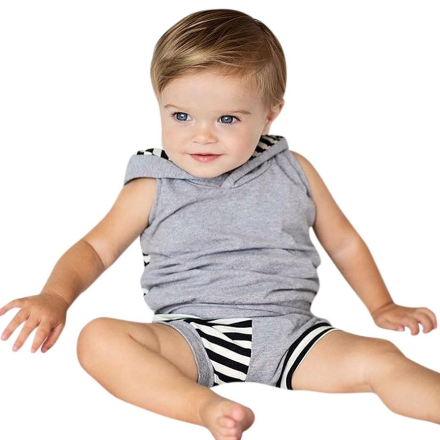 2018 Summer childrens clothing Boy Hooded Striped Splice Tops T-Shirt + Shorts baby fashion clothes for boys