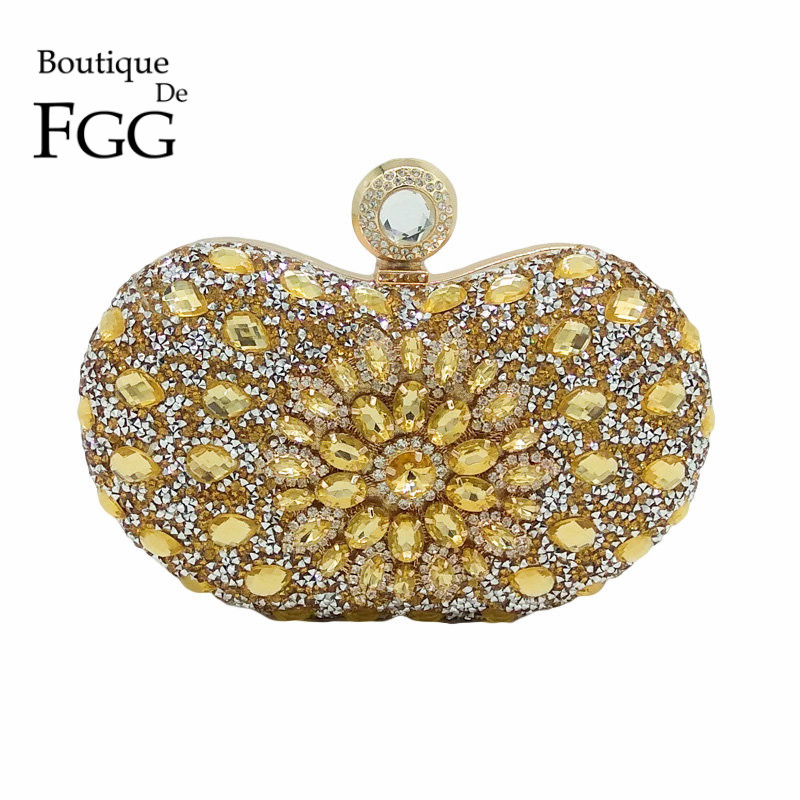 Boutique De FGG Hot-Fixed Gold Diamond Women Evening Bags Wedding Party Crystal Metal Clutches Purse Bridal Tote Clutch Handbag