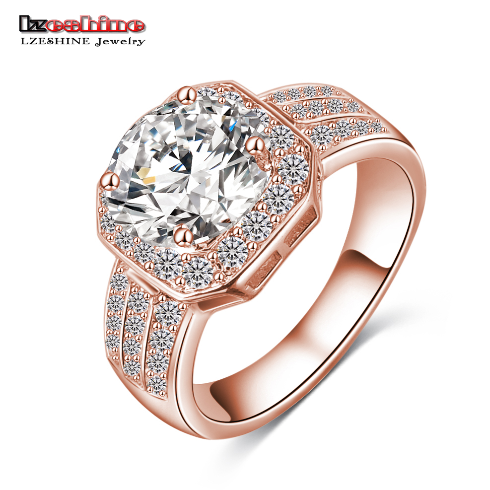 LZESHINE Ny Ankomst Square Ring Gull / Sølv Farge Mikro Inlay AAA Cubic Zircon Kvinne Ring Anillos De Compromise CRI0015