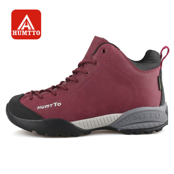 HUMTTO Hiking Shoes Women Winter Outdoor Walking Sneakers Leather Sports Shoes Climbing Boots Waterproof Non-slip Warm
