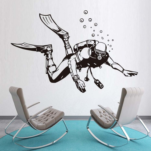 Beautiful DCTOP High Quality Scuba Diver Wall Stickers Vintage Style Home Decor  Extreme Sports Cheap Sticker Removable