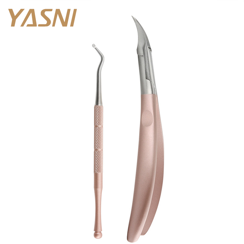 2pcs / set Rose Gold jalgade hooldus Toe Nail Clippers Trimmerilõikurid Professional Paronychia Nippers Kiropoodia Podiatria jalgade hooldus FS43