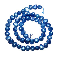 2018 High Quality Grade AAA Cultured Potato Freshwater Pearl Beads Blue 6 7mm Pearl Beads 0.8mm Hole Approx 14.7 Inch Strand