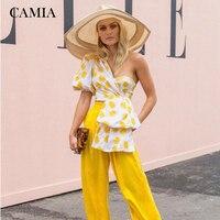 CAMAI Summer Top Print Puff Sleeve Short One Shoulder Half Sleeve Shirt Women's Tube Top Off Shoulder Ladies Top
