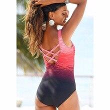 Gradient One Piece Swimsuit Women Vintage Swimwear Criss Cross Back Monokini Blue Bath Suit 2018 Beach Wear Maillot De Bain