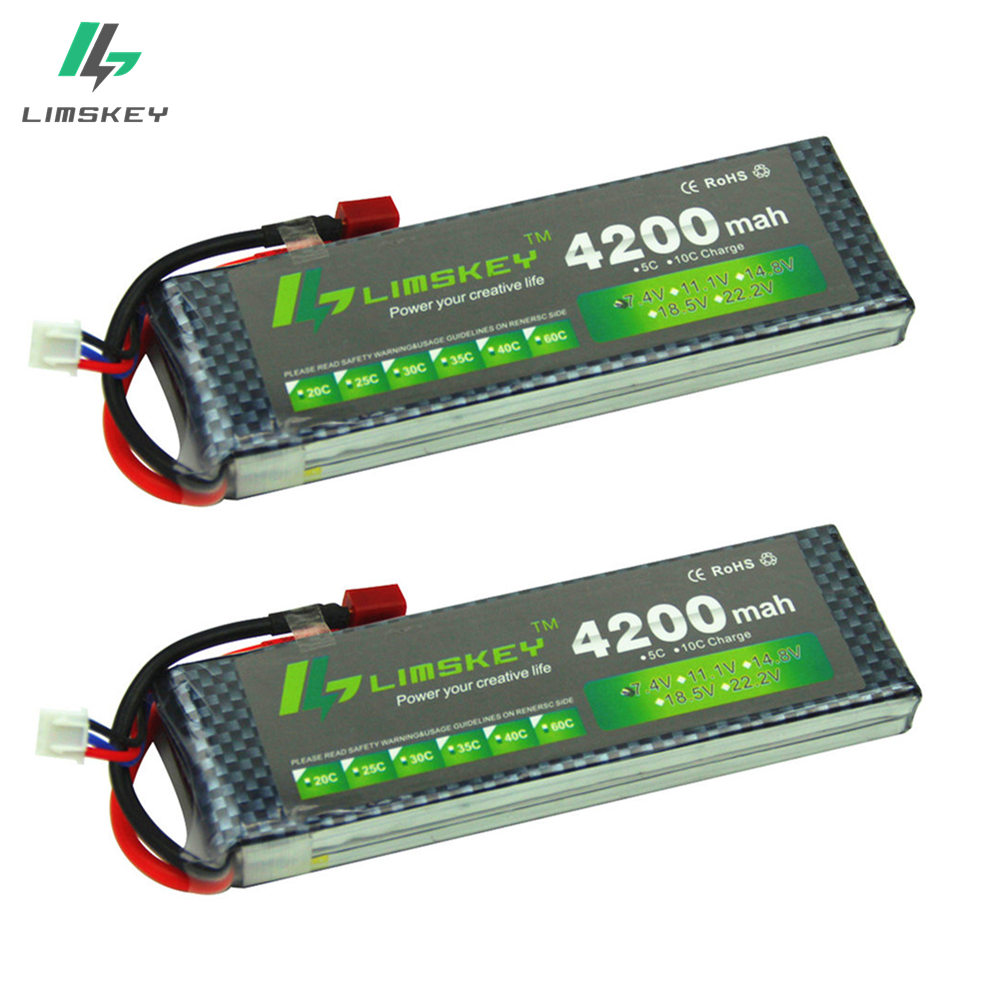 Limskey POWER 7.4V 4200mAh 25C Battery With T/XT60 Plug for RC Car Airplane Helicopter 7.4 V 4200 mah Battery 2pcs 2s battery extra spare floureon xt60 plug 14 8v 4200mah 30c battery for rc helicopter airplane boat model
