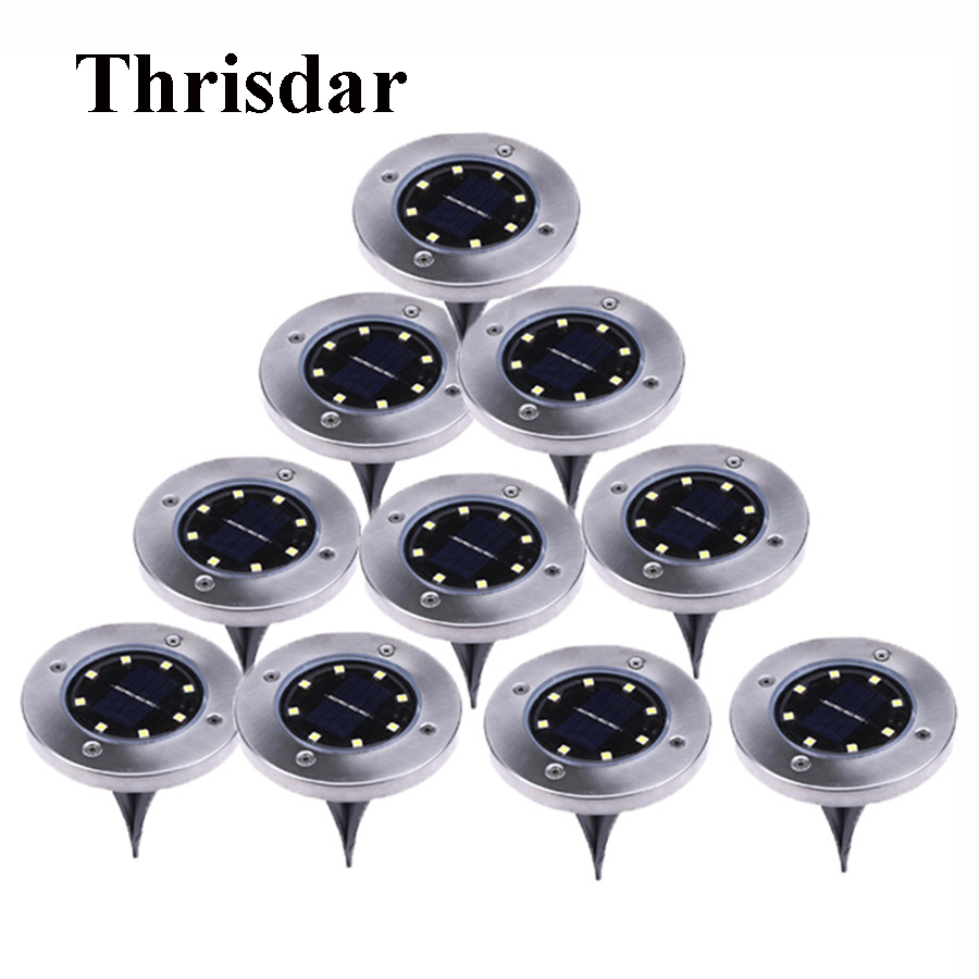 Thrisdar 10PCS Solar Powered Ground Light 8 LED Outdoor Garden Landscape Pathway Solar Buried Floor Light Underground LampsThrisdar 10PCS Solar Powered Ground Light 8 LED Outdoor Garden Landscape Pathway Solar Buried Floor Light Underground Lamps