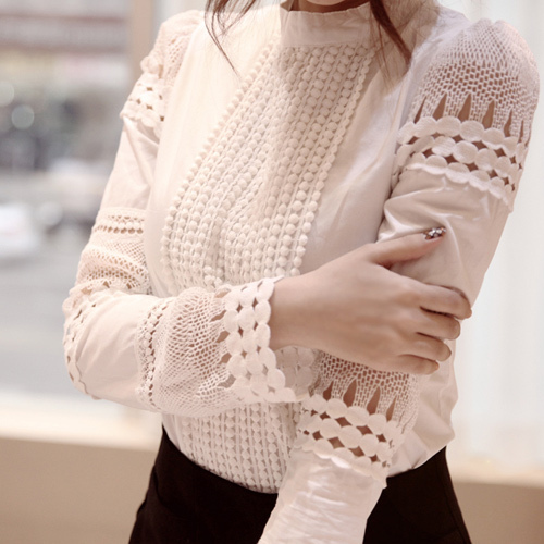 2015 New spring high quality blusas femininas women blouses plus size women's shirt hollow out lace Slim chiffon blouse 862B5