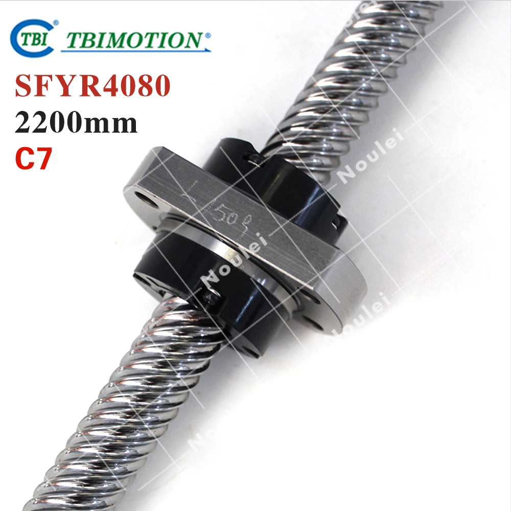 TBI 4080 miniature ball screw 40mm dia 80mm lead 2200mm with ballnut SFY4080 for DIY CNC parts винт tbi sfkr 0802t3d