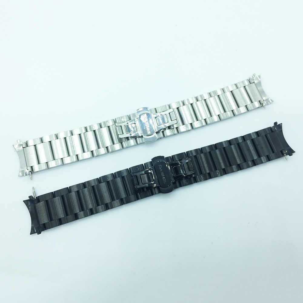 נירוסטה להקת שעון 22mm עבור Samsung הילוך S3 קלאסי Frontier שעון רצועת יד חגורת צמיד שחור כסף + notch מתאם
