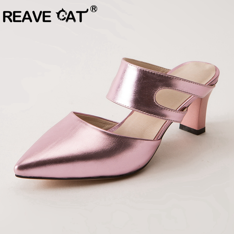 REAVE CAT Mules Shoes Summer Women Slides High Heel Cutout Ladies Heel Slides Shoes Women White