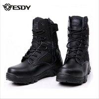 Táctico Del Ejército Para Los Hombres de Invierno de Cuero Genuino de Goma Impermeable de Los Hombres Botas de trabajo de Seguridad Zapatos Botines de Combate Militar