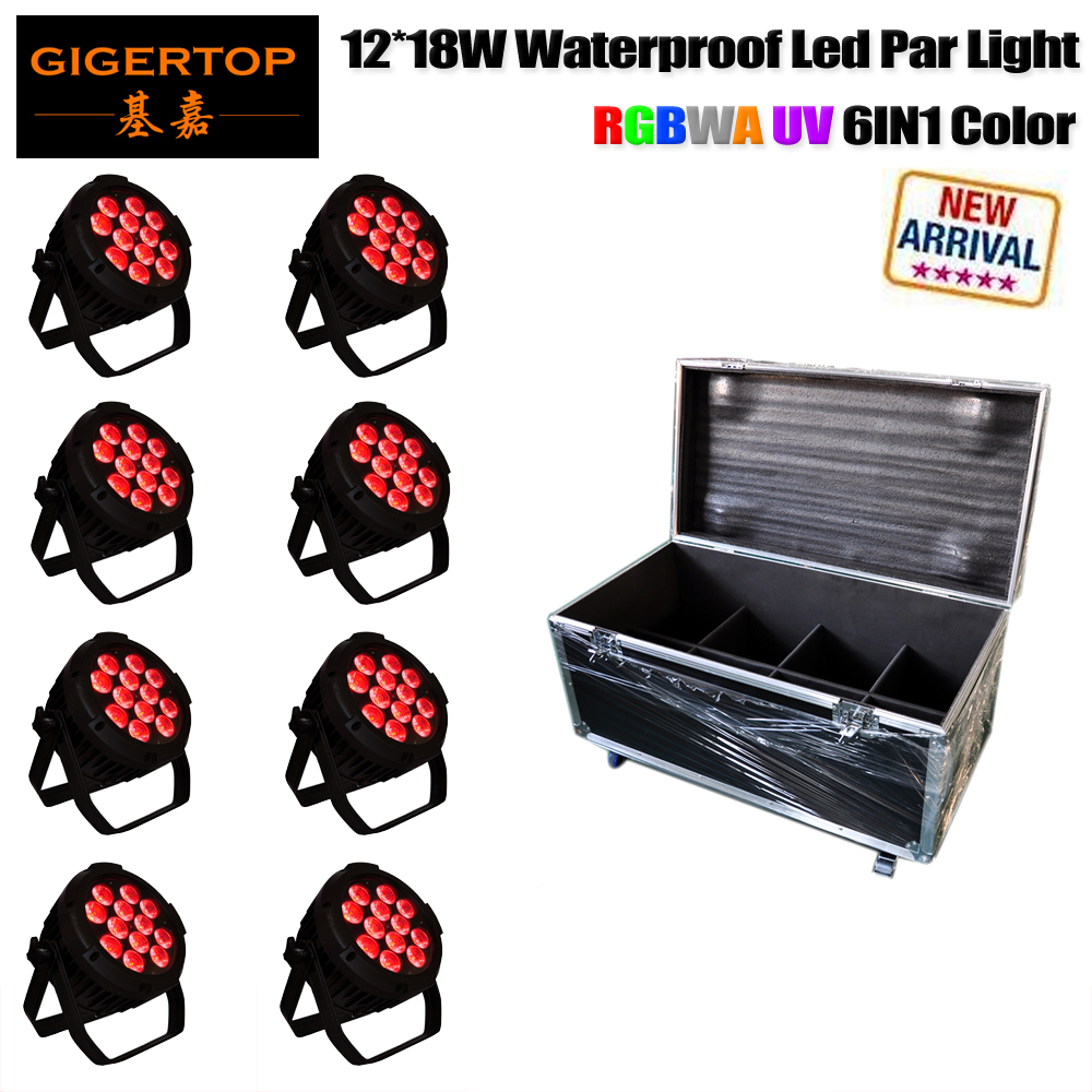 Flight Case Packing 12 18W RGBWA Sharpy Outdoor Led Par Cans Die Casting Aluminum Glass Cover Big Housing 1m Power/DMX Cable 10pcs lot 9x18w rgbwa uv 6in1 flat led par light aluminum white housing battery dmx512 wireless pcb receiver 2 4g flight case