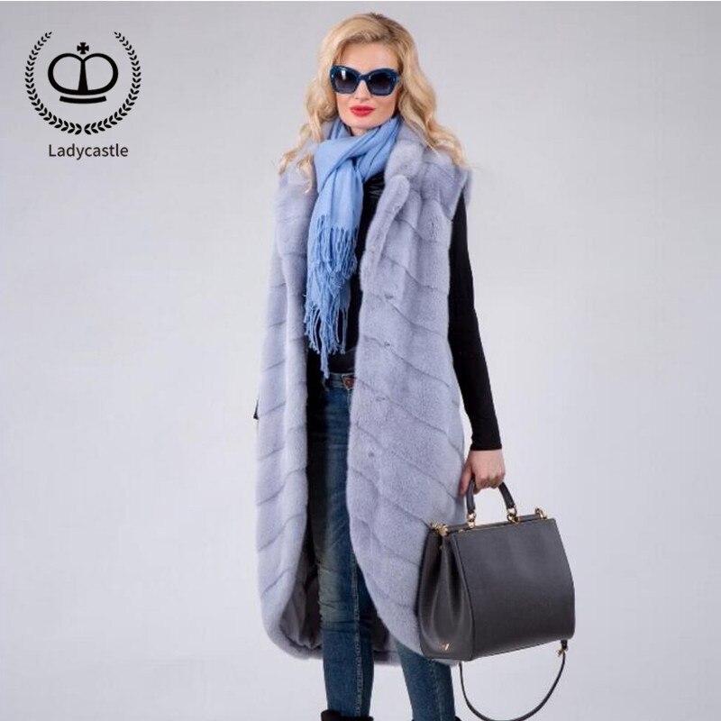 Col Fourrure À Long Natural D'hiver Arrivée Vison De Manteau Mode 2018new Mkw Luxe Revers Gilet Naturel White Véritable Réel Femmes 185 sky Blue WICnqw4SS0