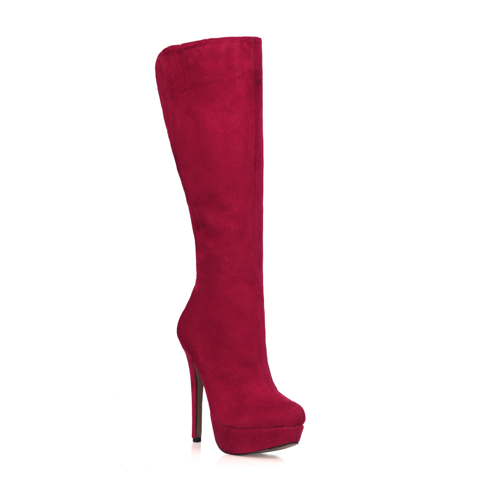 2016 Winter Red Suede Sexy Party Shoes Women Round Toe Stiletto High Heels Platform Lady Knee-High Boots Zapatos Mujer 3463BT-q5