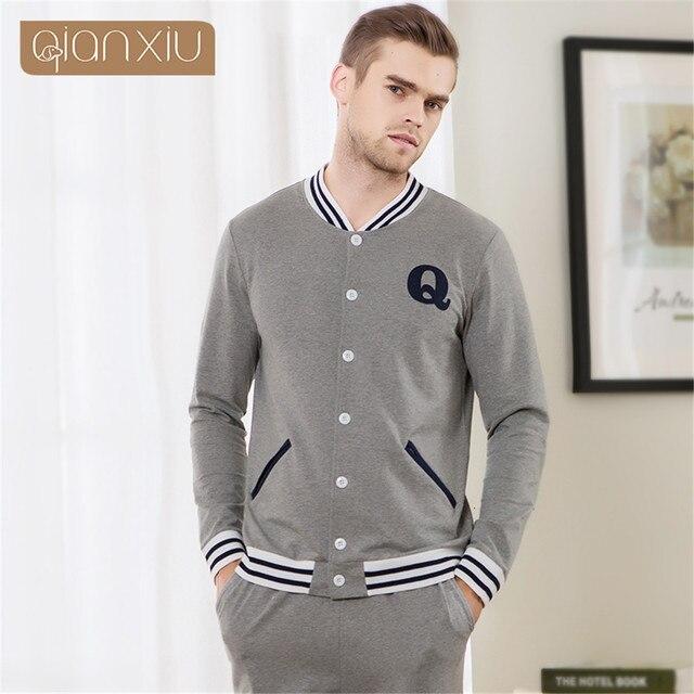 Qianxiu Men's Pajamas Spring Long Sleeve Sleepwear Cotton Cardigan Pyjamas Simple letters printing design Men Lounge Pajama Sets
