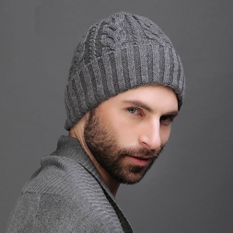 100% Wool Cashmere Men Winter Hat Knit   Skullies     Beanies   Hats Male Double Layer Thicken Wool Hat D4315