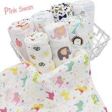 Новое поступление, Летнее Детское муслиновое одеяло с геометрическим рисунком розового лебедя для новорожденных, детское банное полотенце, Пеленальное Одеяло, детская накидка