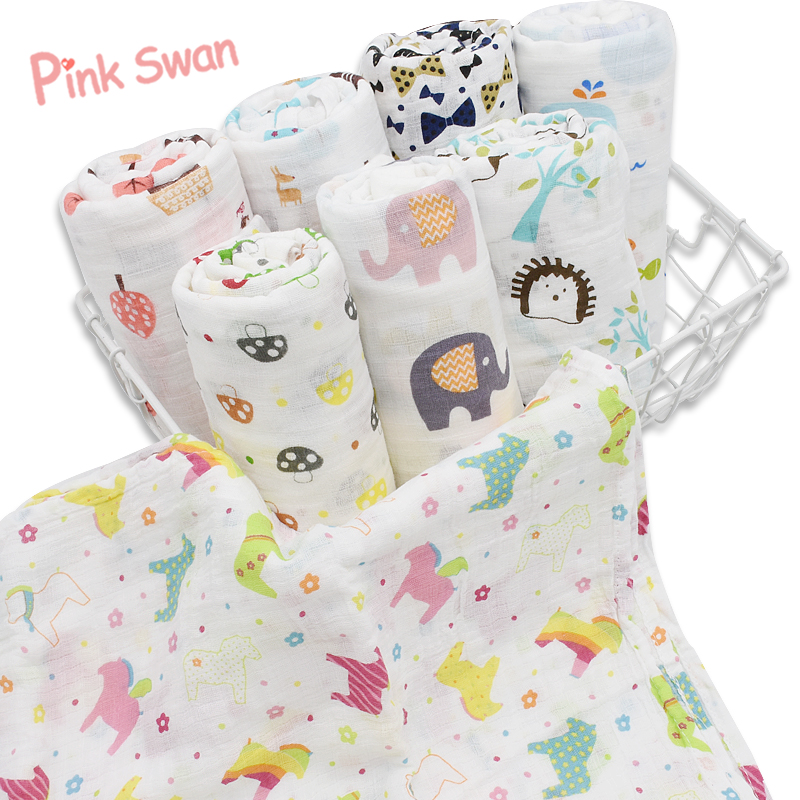 PINK SWAN New Arrival Summer Infant Geometry Muslin Baby Swaddle Blanket Newborn Baby Bath Towel Swaddle Blankets Baby Wrap