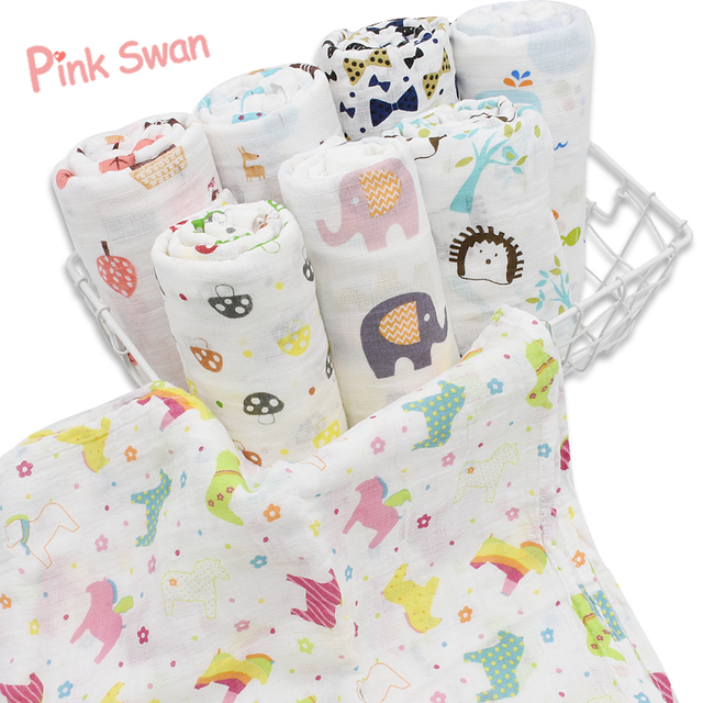 PINK SWAN Summer Infant Geometry Muslin baby Swaddle blanket