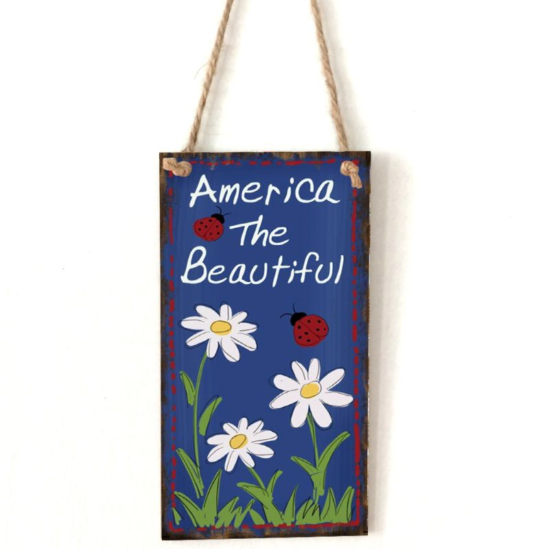 Vintage Wooden Hanging Plaque America The Beautiful Flower Sign Board Wall Door Home Decoration Independence Day Party Gift-in Plaques & Signs from Home & Garden