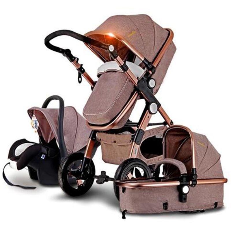 Newborn Baby strollers 3 in 1 folding Infant carriage stroller high landscape Baby strollers for 0 to 3 years russian wholesale new luxury baby stroller 3 in 1 high landscape three dimensional four round baby stroller carts strollers