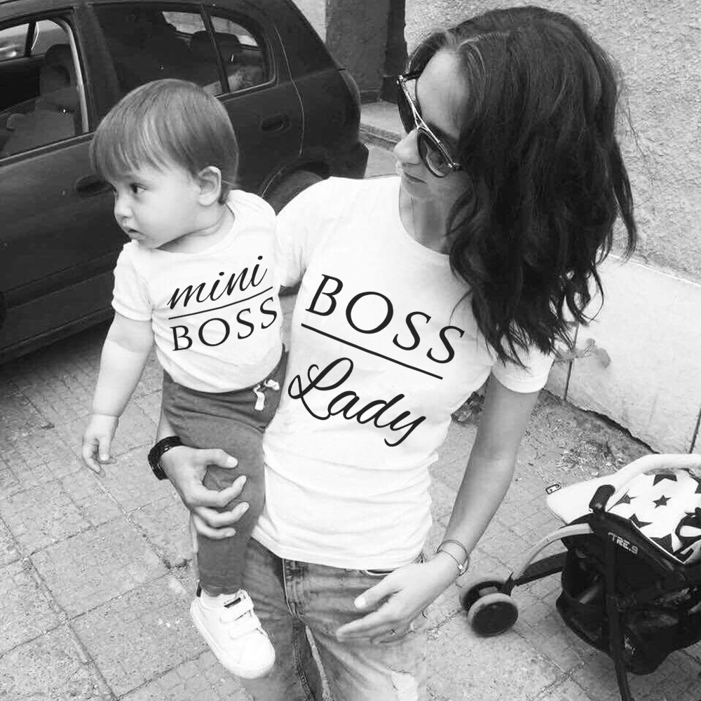 Mom Baby Kids Girl Mini And Lady Boss Matching Shirt T-Shirt Blouse Tee Tops Family Outfit Clothes Short Sleeve Casual T Shirt